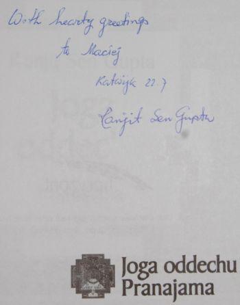 Dedykacja Ranjita na moim egzemplarzu książki :)