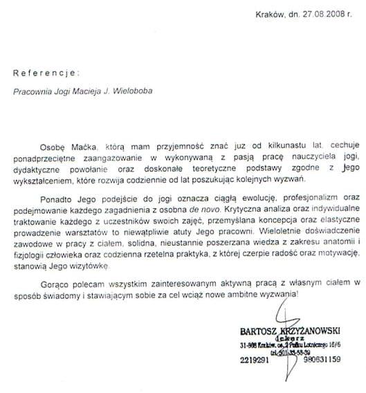 Referencje od dra Bartosza Krzyżanowskiego