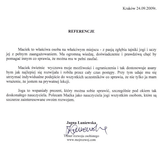Referencje od Jagny Łuniewskiej, trenera rozwoju osobistego