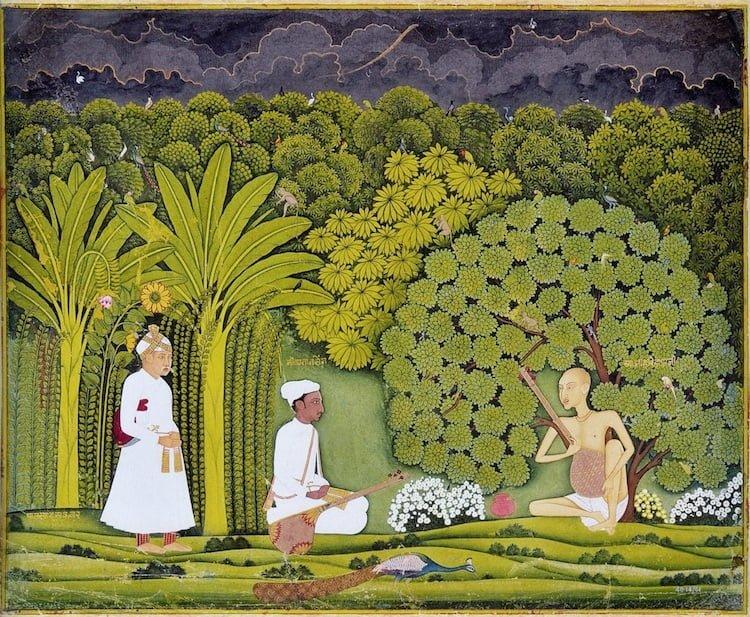 Cesarz Akbar oraz Tansen z jego nauczycielem Haridasem